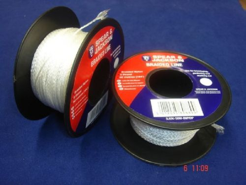 Spear & Jackson White Braided Nylon Bricklayers Line 2 x 50 Metre Spools UK50M8W